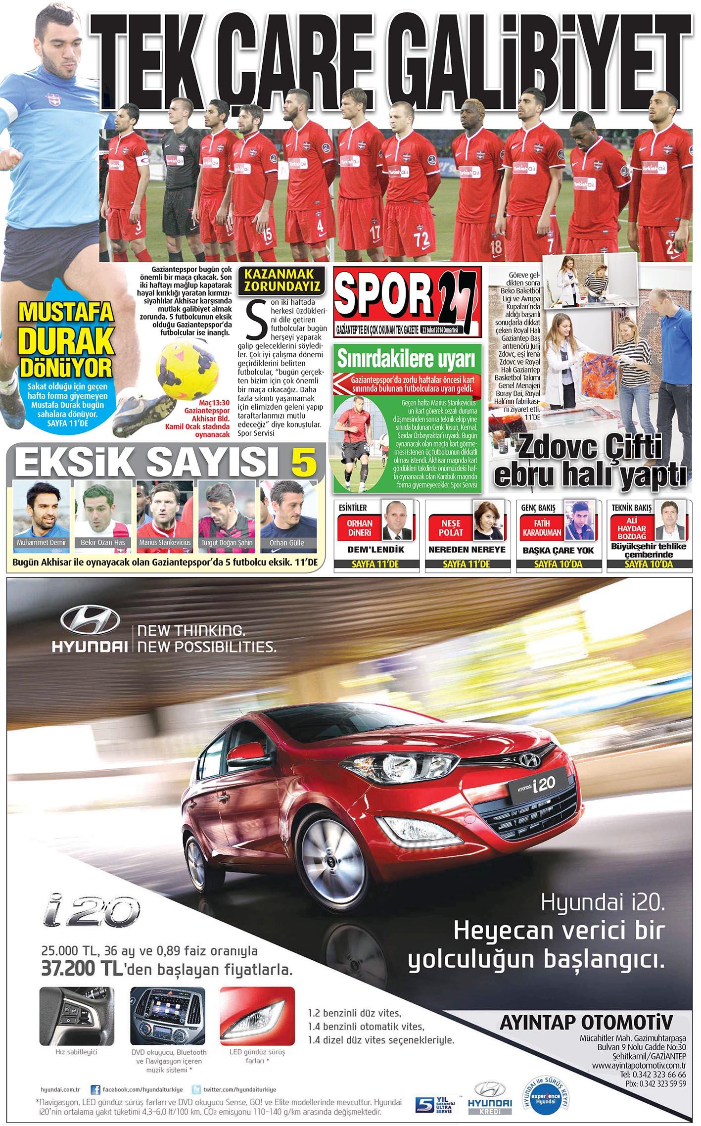 22 ŞUBAT 2014 SAYFALAR 2