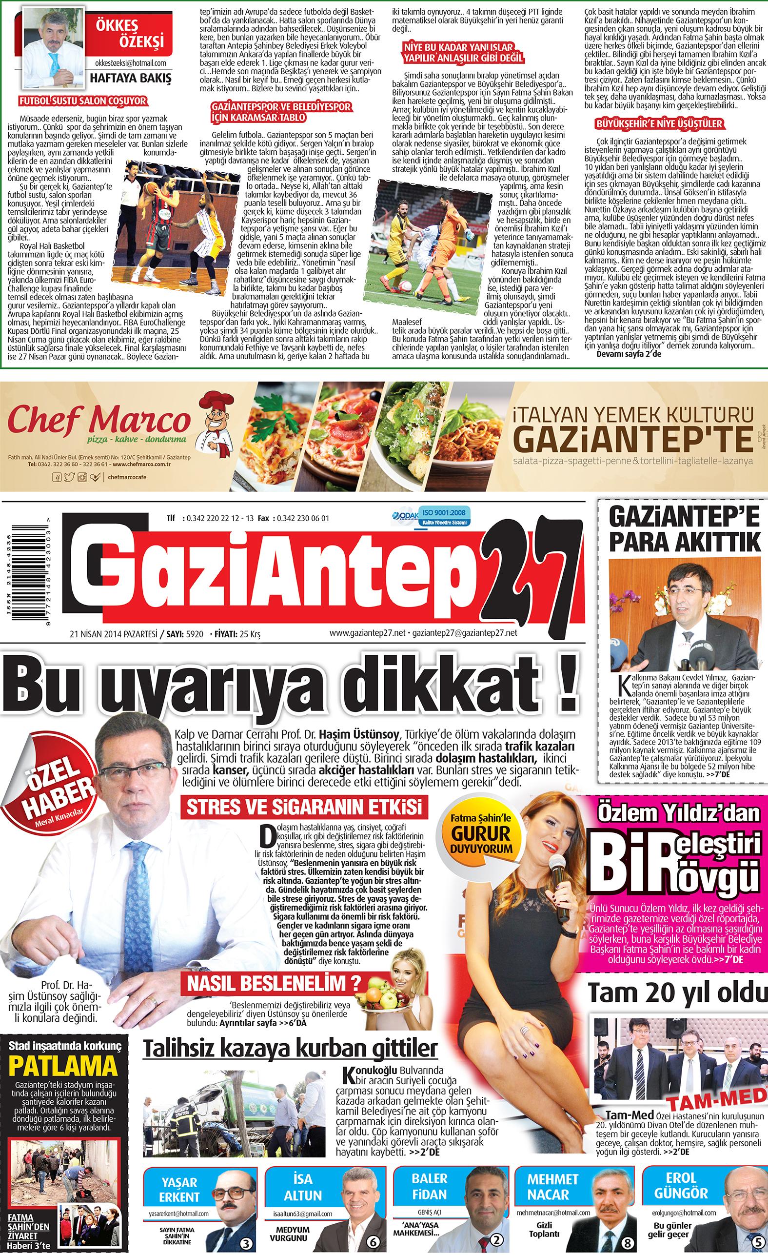 21 Nisan 2014 sayfalar 1