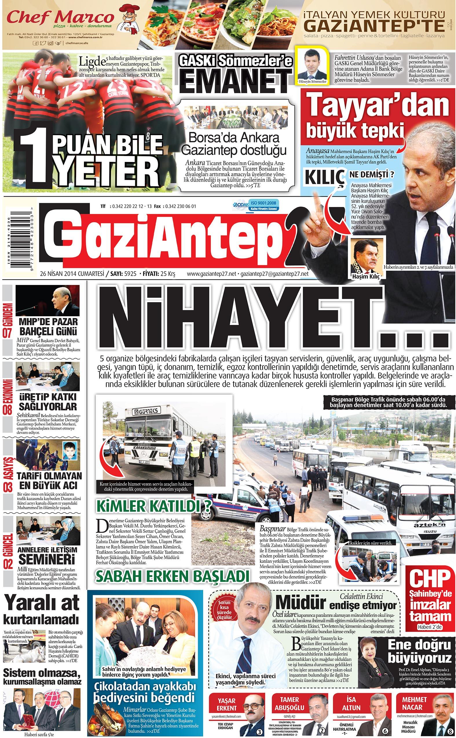 26 Nisan 2014 sayfalar 1