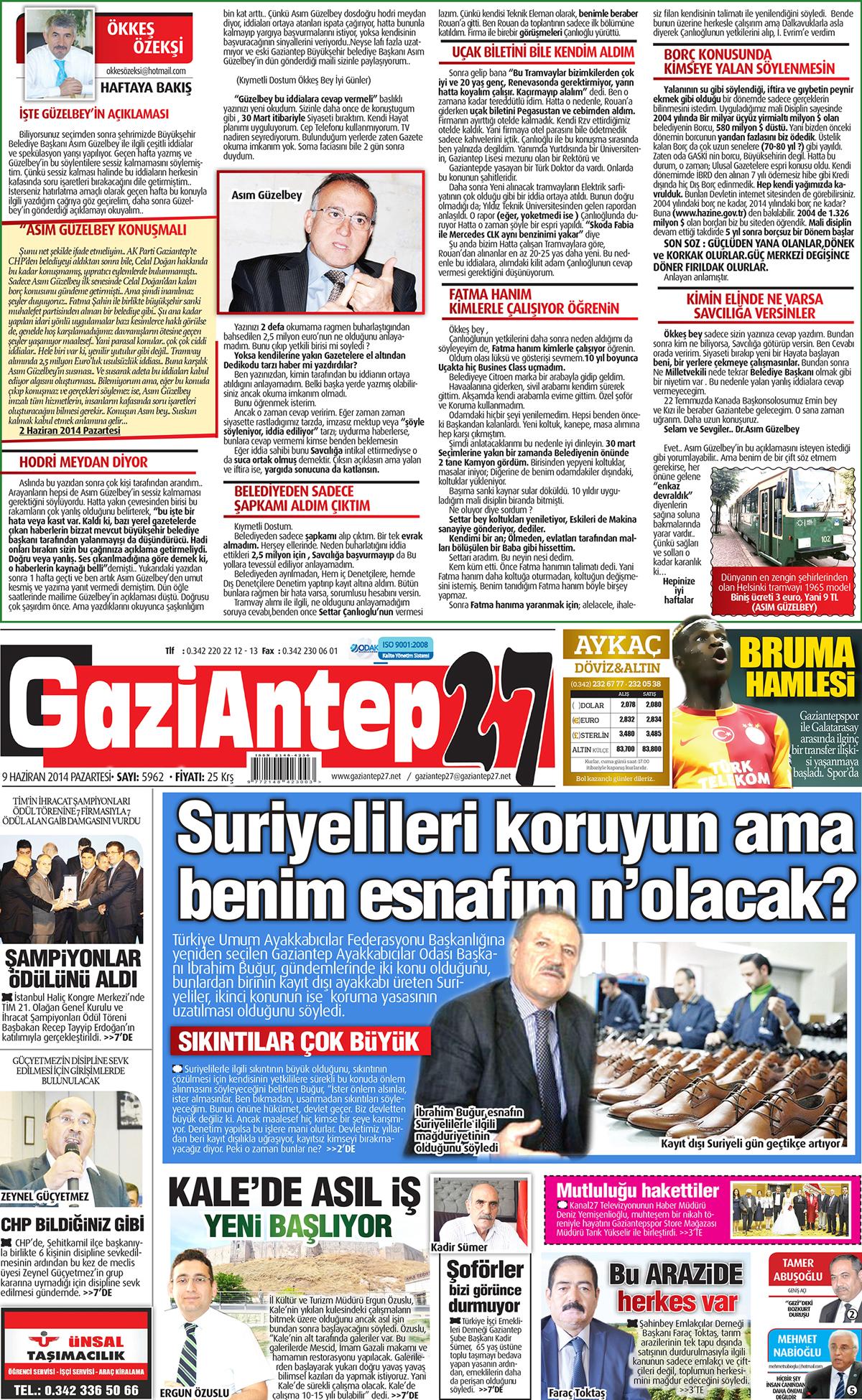 9 HAZİRAN 2014 PAZARTESİ SAYFALARI 2