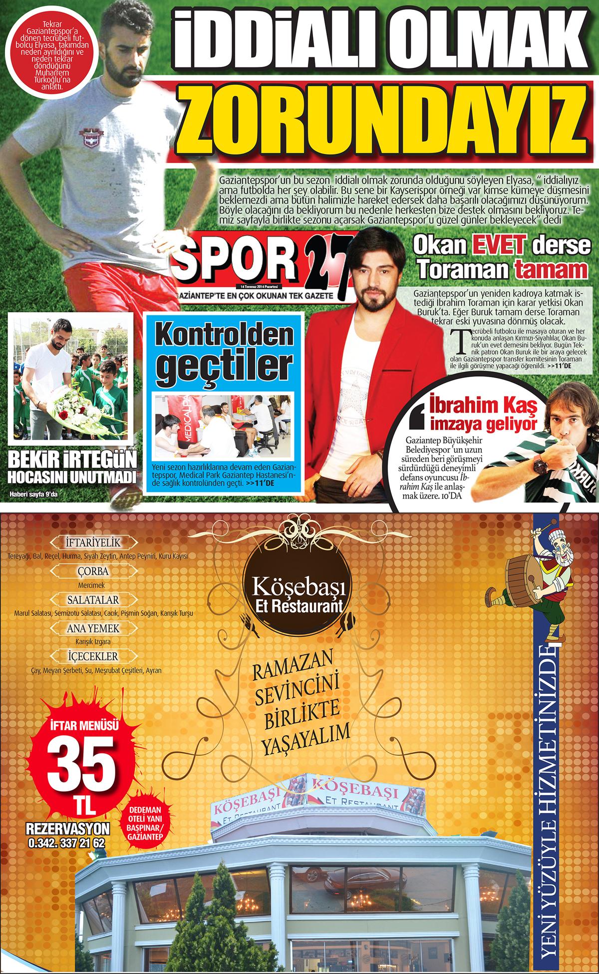 14 TEMMUZ 2014 PAZARTESİ SAYFALARI 1