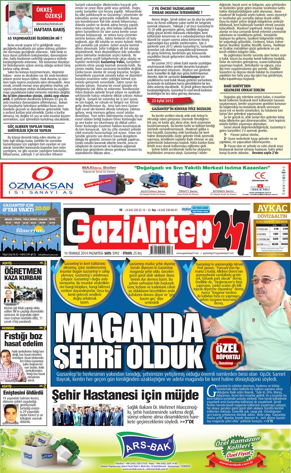 14 TEMMUZ 2014 PAZARTESİ SAYFALARI 2