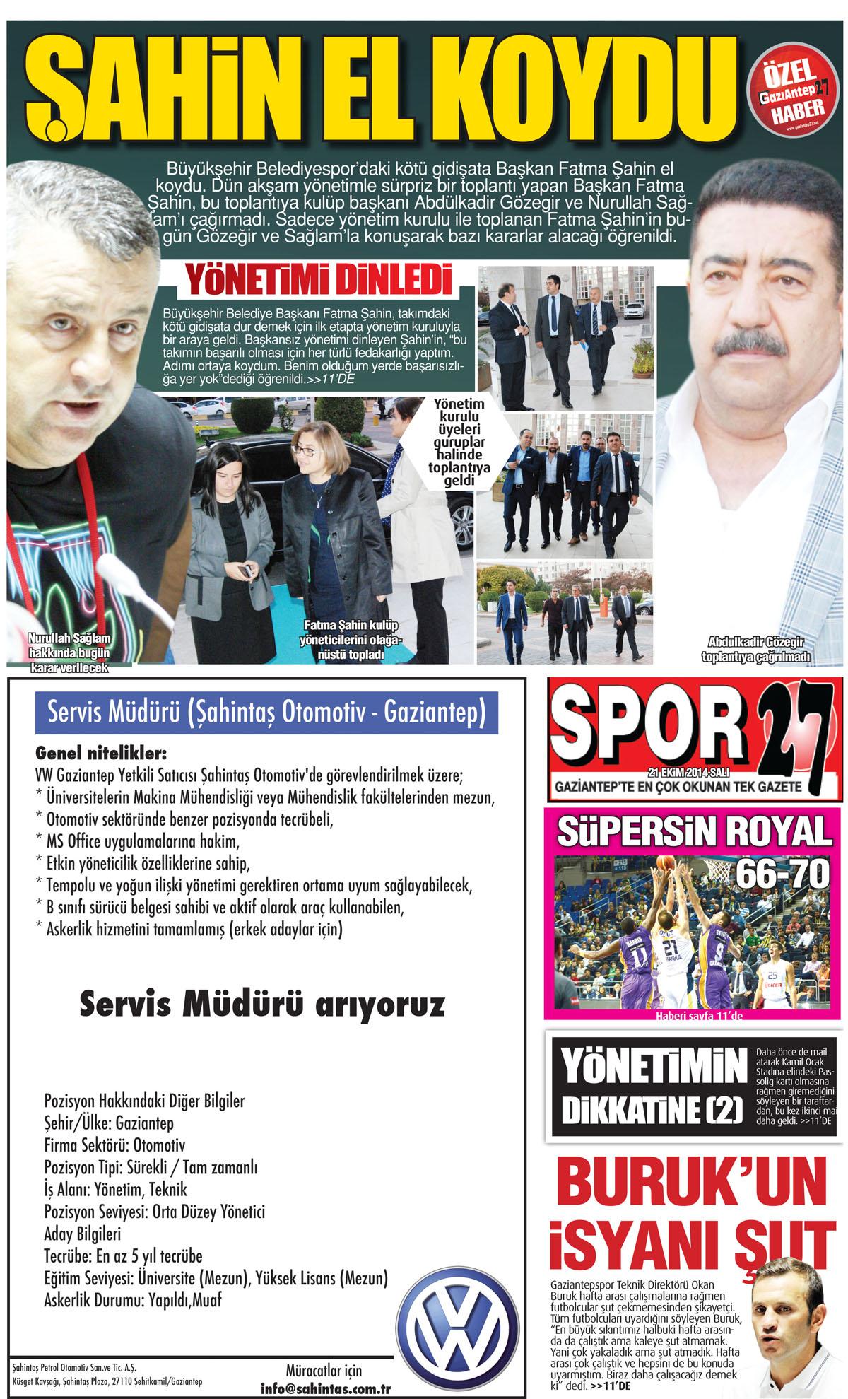 21 EKİM 2014 SALI SAYFALARI 2