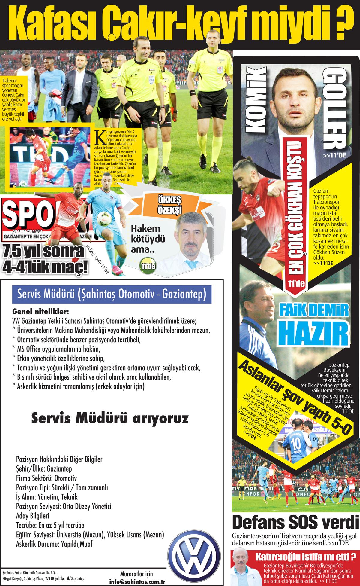 28 EKİM 2014 SALI SAYFALARI 2