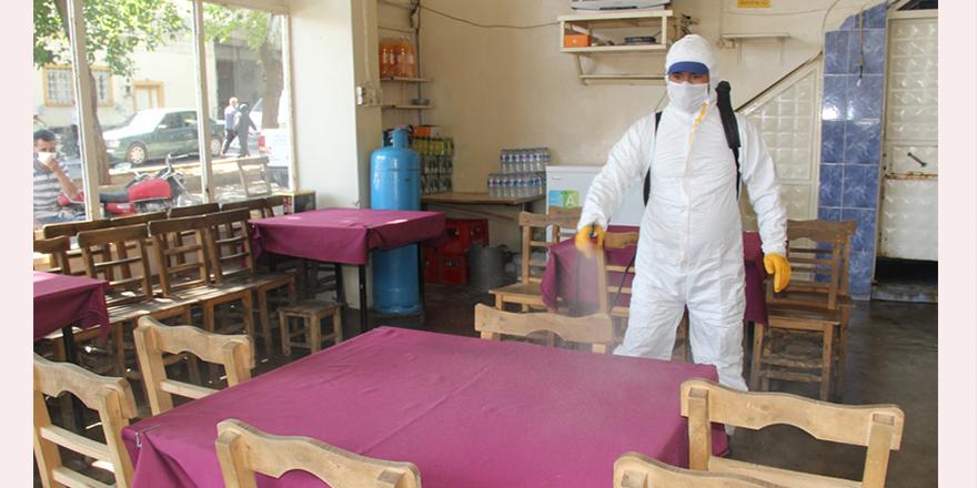 Açık alanlar dezenfekte edildi