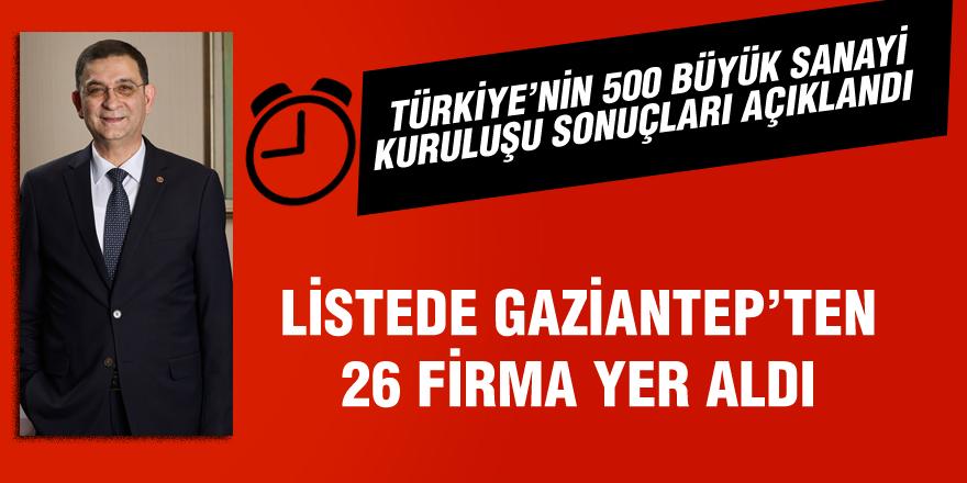 İSO 500 LİSTESİNDE GAZİANTEP'TEN 26 FİRMA YER ALDI
