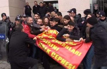 Adliye önünde eyleme polis müdahalesi