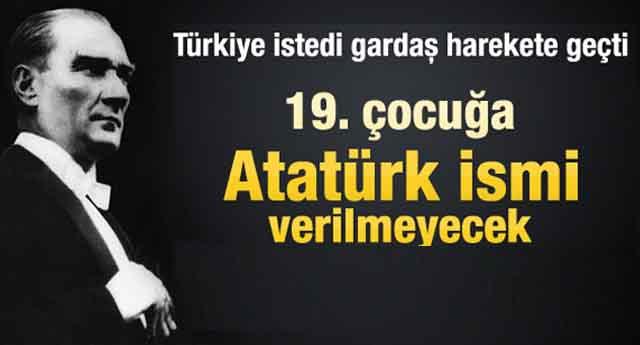 Atatürk ismine yasak geldi