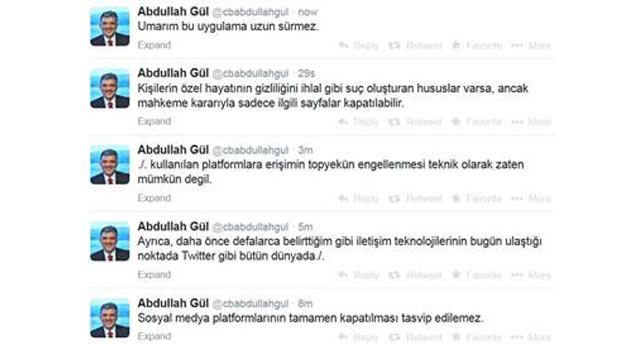 Gül'den tweet ile tepki
