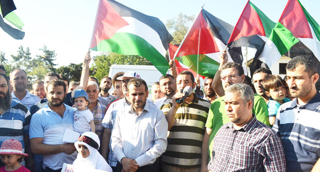 Gaziantep'te Filistin'e destek konvoyu