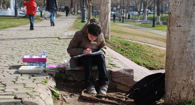 Mendil satıp parkta ders çalışıyor