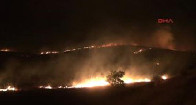 Dağlık arazide korkutan yangın