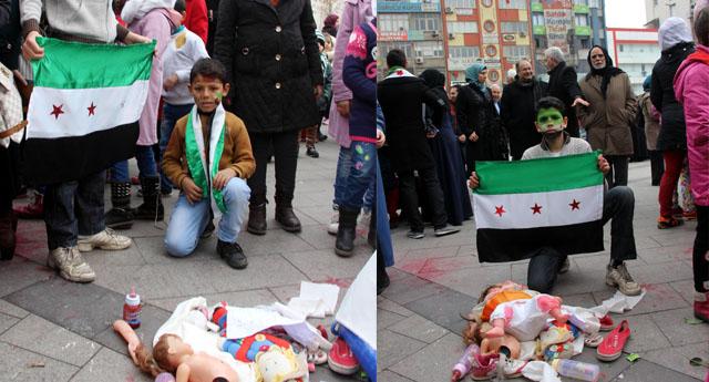 Suriyeli Mültecilerden ''Oyuncaklı Protesto''