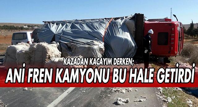 GAZİANTEP'TE YÜK DOLU KAMYON DEVRİLDİ !