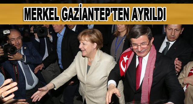 Merkel'i, Başbakan Ahmet Davutoğlu uğurladı