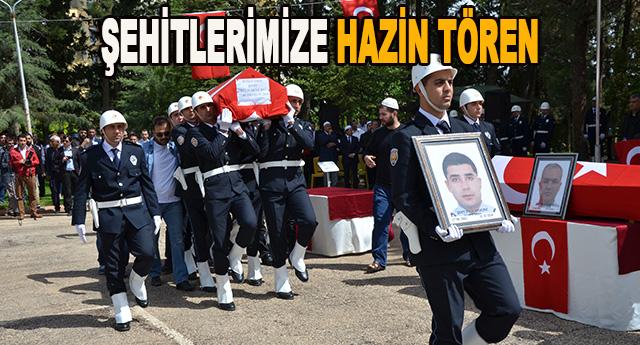 Şehit olan polis memurları için tören düzenlendi
