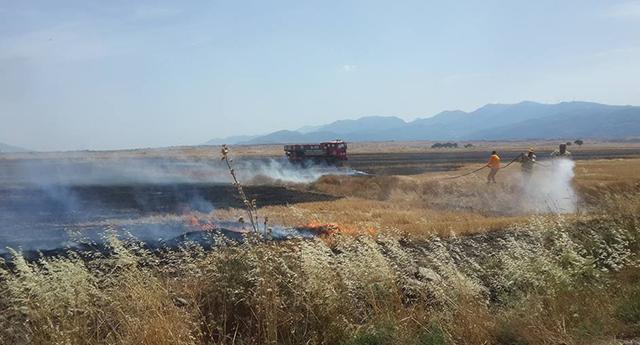 Anız yangını güçlükle söndürüldü