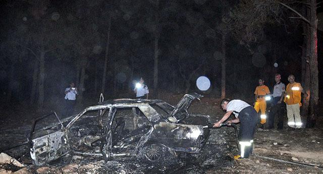 Ormanlık alanda yandı