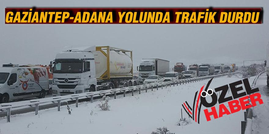 Gaziantep -Adana yolunda trafik durdu