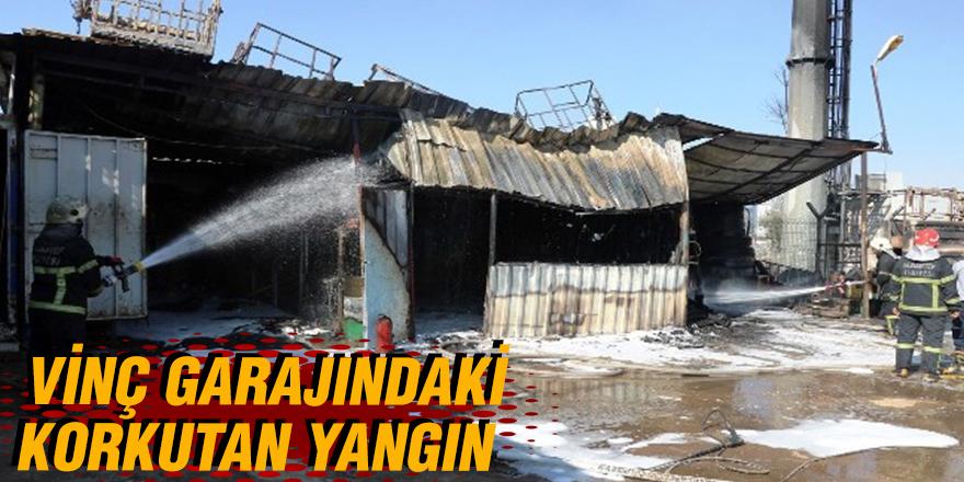 Vinç garajındaki yangın korkuttu