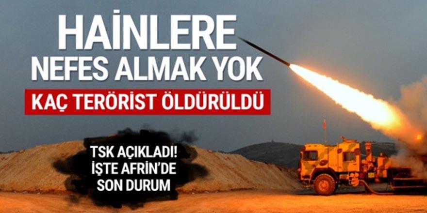 Afrin'de kaç terörist öldürüldü ?