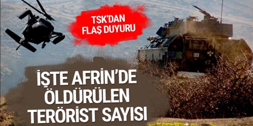 Afrin'de kaç terörist öldürüldü ? TSK rakam verdi