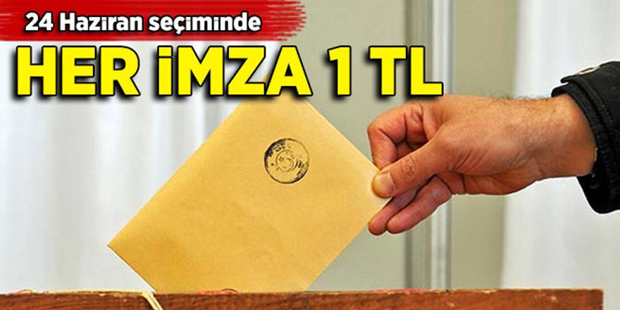 24 Haziran seçiminde her imza 1 TL