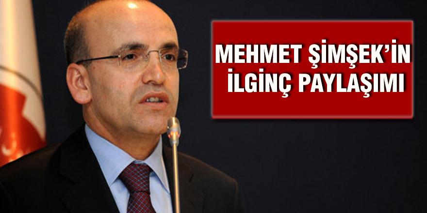 Mehmet Şimşek'in ilginç paylaşımı
