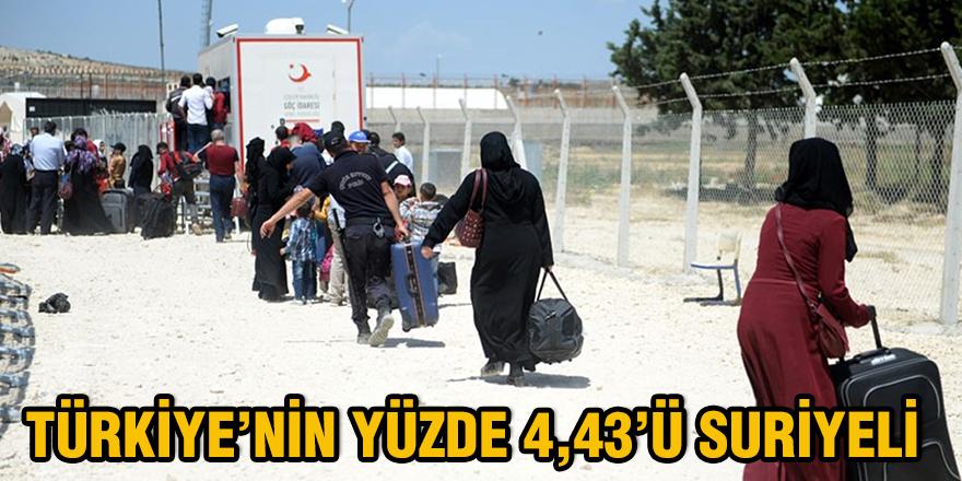 Türkiye'nin yüzde 4,43'ü Suriyeli