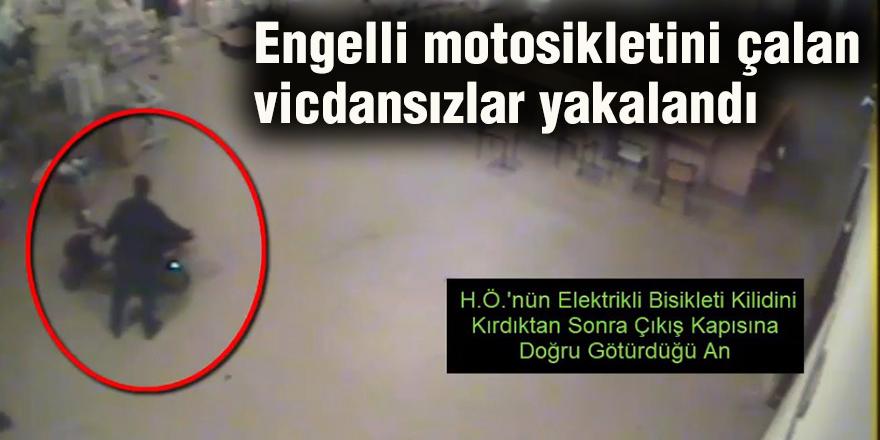 Engelli motosikletini çalan vicdansızlar yakalandı