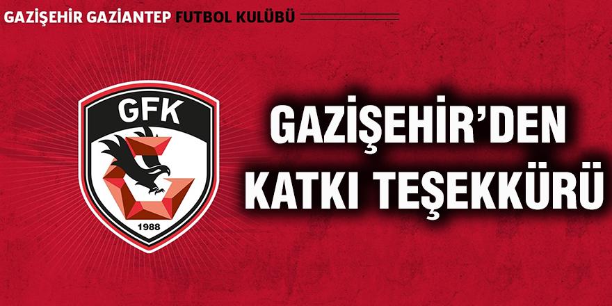 Gazişehir'den katkı teşekkürü