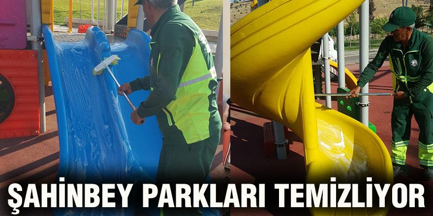 Şahinbey parkları temizliyor
