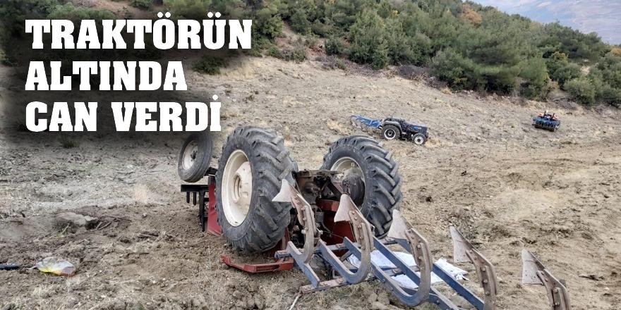 Tarlada traktör devrildi: 1 ölü