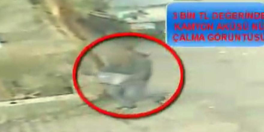 Akü hırsızı yakalandı