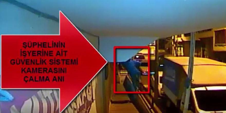 Güvenlik kamerasını çalarken yakalandı