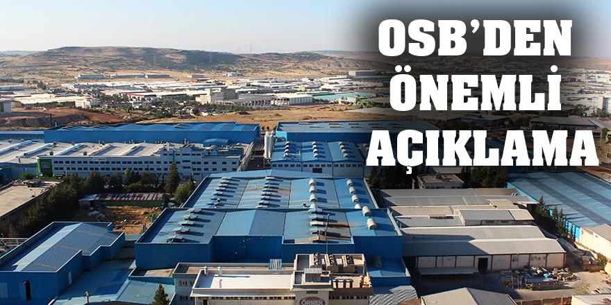 OSB'den önemli açıklama