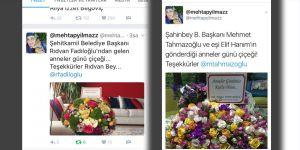 Mehtap hanıma başkanların çiçek jesti