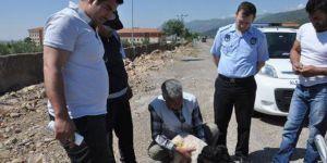 Araçtan düşen kuzu yaralandı