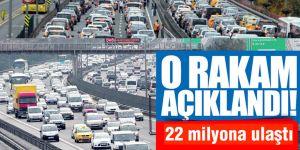 Trafiğe kayıtlı araç sayısı 22 milyona ulaştı