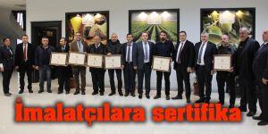 İmalatçılara sertifika