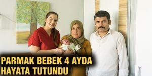 Parmak bebek 4 ayda hayata tutundu