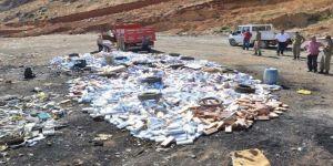 120 Bin paket kaçak sigara imha edildi