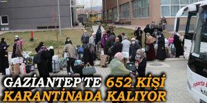 Gaziantep'te 652 kişi karantinada kalıyor