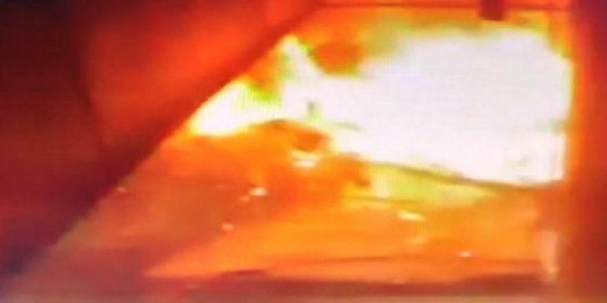 İş yerindeki patlama güvenlik kamerasında