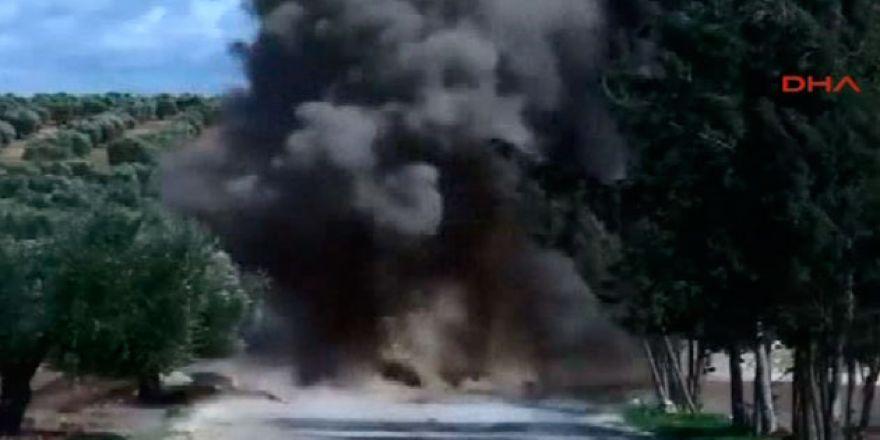 Afrin'de bulunan patlayıcı böyle imha edildi